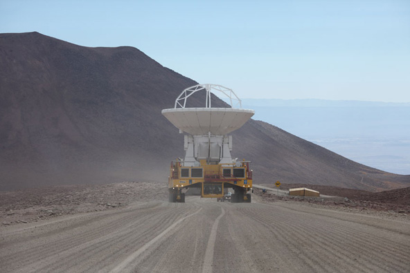Japanese ALMA antenna became the first to arrive at the ALMA 5000 m site.