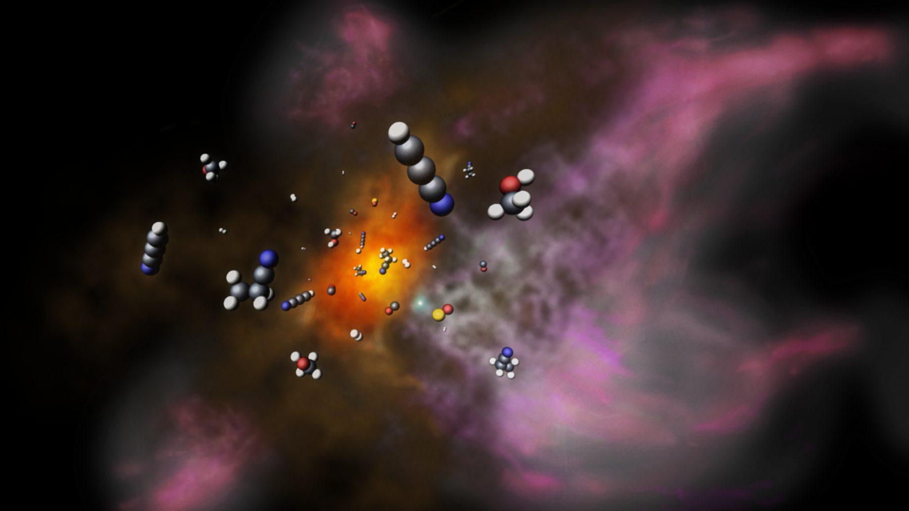 星形成領域G34.26+0.15のイメージ図。星が誕生する領域で、様々な分子が作られている。
