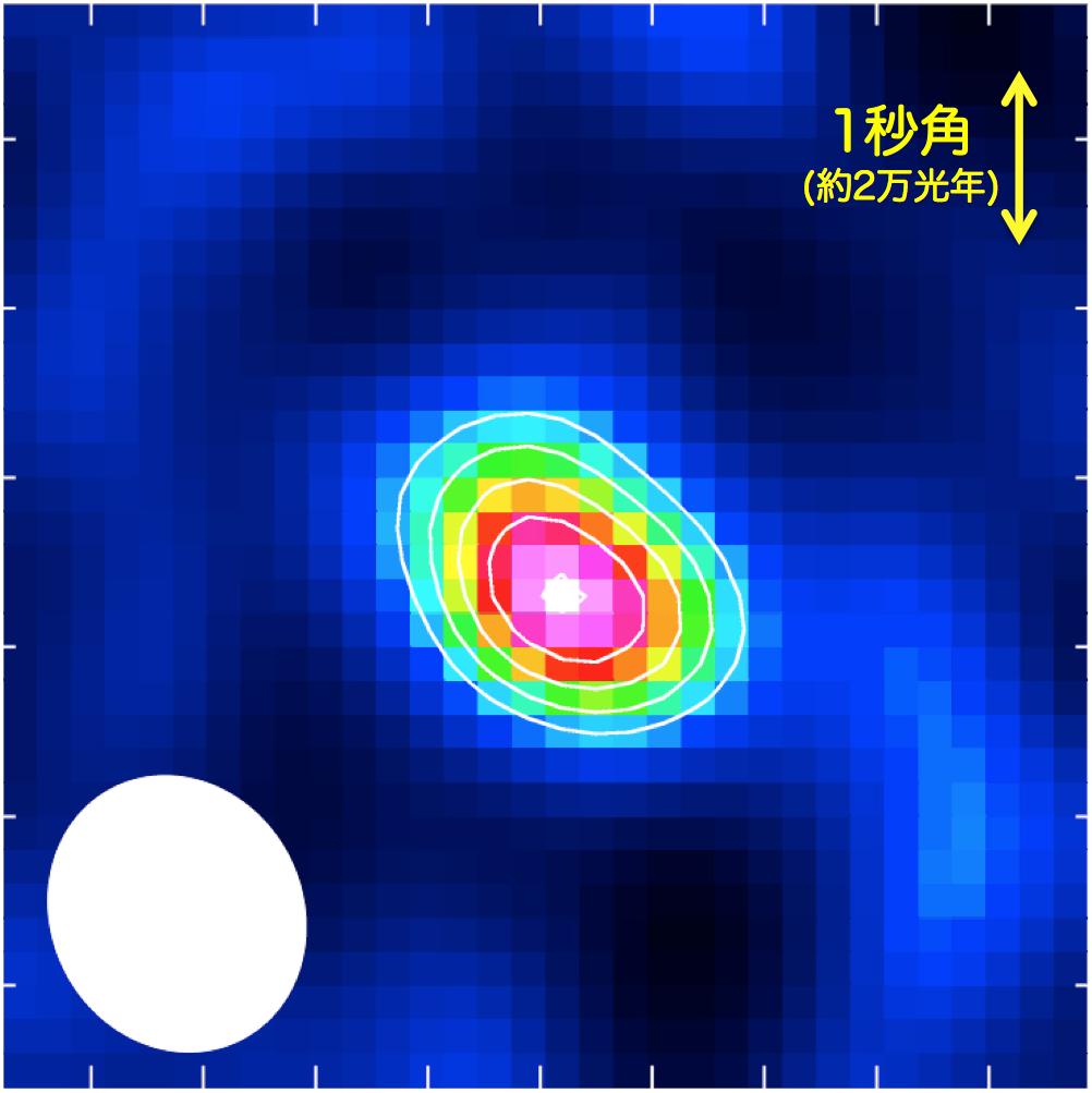 今回の観測でアルマ望遠鏡が捉えた、サブミリ波銀河LESS J0332(画面中央)が放射する窒素の輝線。