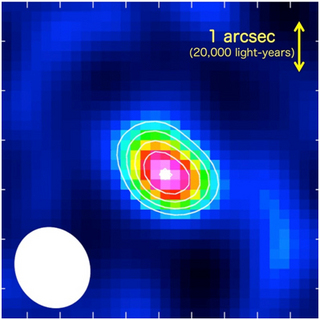 The nitrogen emission line emitted from the submillimeter galaxy LESS J0332 (center), captured with ALMA
