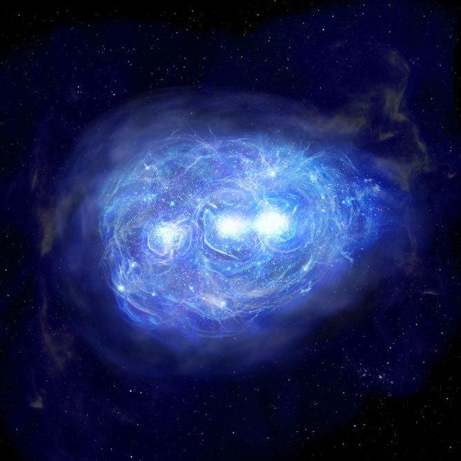 今回の観測をもとに描いた、巨大天体ヒミコの想像図。原始的なガスが渦巻く中で、3つの星の集団が作られています。 Credit: 国立天文台