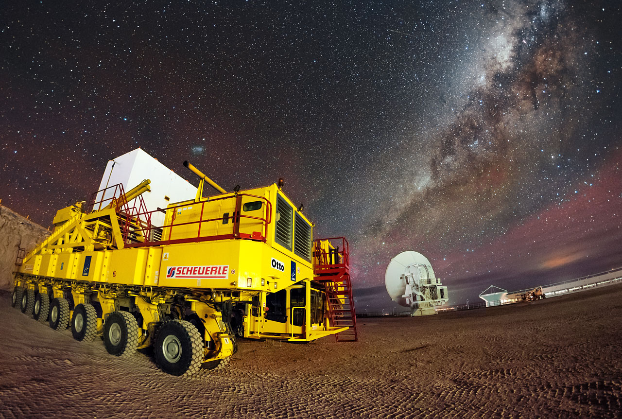 This picture was the 10000th to appear in ESO's photo archive. It was posted to the Your ESO Pictures Flickr group by Adhemar Duro on 30 September 2015. This resource is growing each day with new, wonderful and quirky views of ESO from both the inside and outside. Adhemar's picture is a spectacular night view of Otto, one of the ALMA transporters, with the Milky Way and ALMA antennas as a dramatic backdrop.