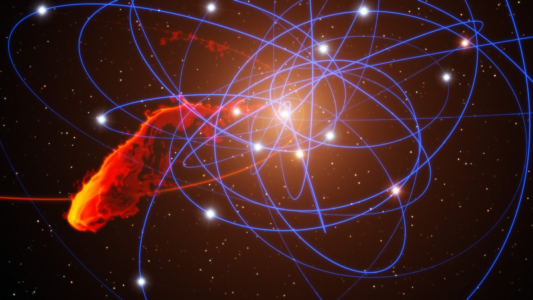 Artist's impression of a gas cloud after a close approach to the black hole at the centre of the Milky Way. The star orbiting the black hole are shown, along with blue lines that mark their fast, tight orbits