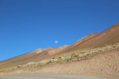 White moon from the ALMA road