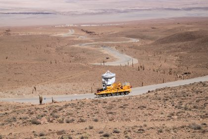 An ALMA 7 Meter Antenna being Transported to 5000 Meter Altitude
