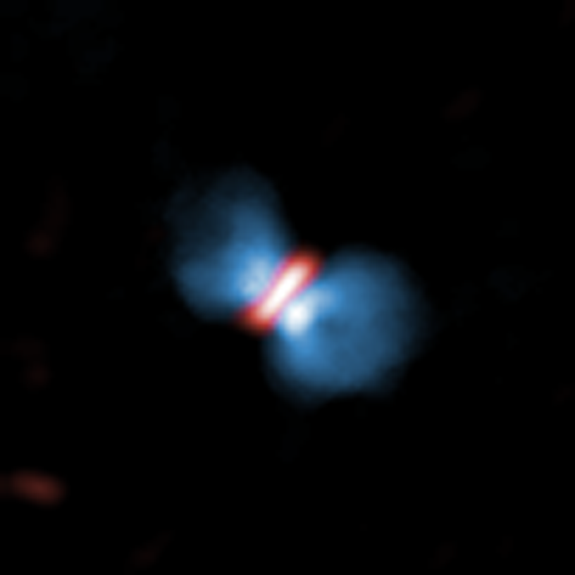 Orion KL Source I observed with ALMA.  アルマ望遠鏡が観測したオリオンKL電波源I。 Credit: ALMA (ESO/NAOJ/NRAO), Hirota et al.