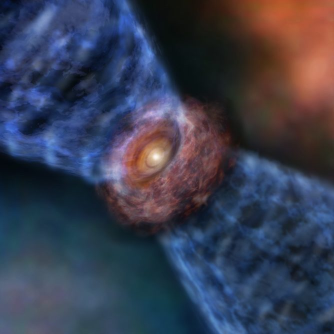 ALMA Hears Birth Cry of a Massive Baby Star