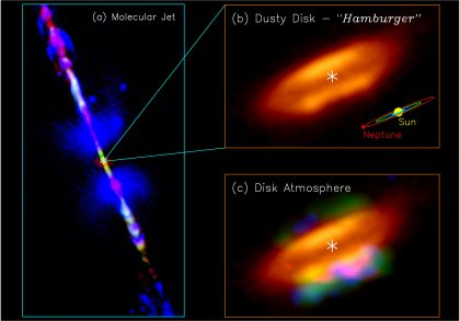Jet, disk, and disk atmosphere in the HH 212 protostellar system
