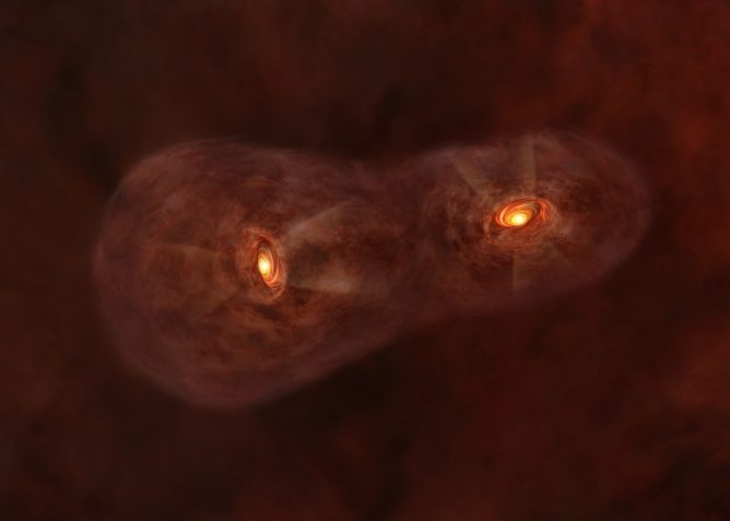 ALMA Reveals Turbulent Birth of Twin Baby Stars