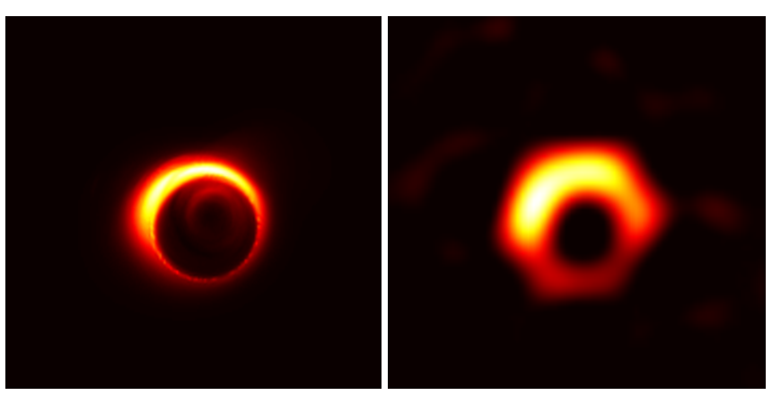 A simulated image of the supermassive black hole Sagittarius A*, which is likely to be obtained in the most recent EHT observations. The dark gap at the center is the shadow of the black hole. 研究者がシミュレーションした、今回のEHT観測で得られると想定される超巨大ブラックホールいて座A*の画像。中心の黒い穴の部分がブラックホールの影に相当します。 Credit: Kazunori Akiyama (MIT Haystack Observatory)