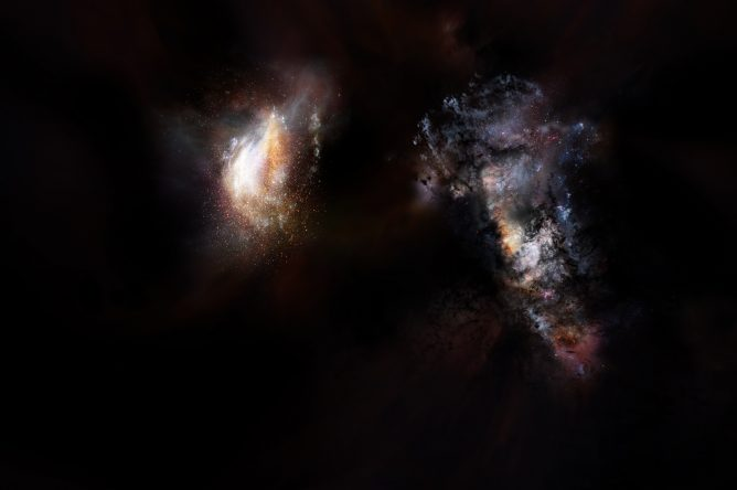 Massive Primordial Galaxies Found Swimming in Vast Ocean of Dark Matter