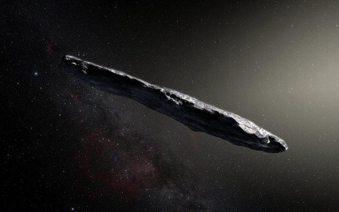 謎の太陽系外由来天体オウムアムアの想像図。