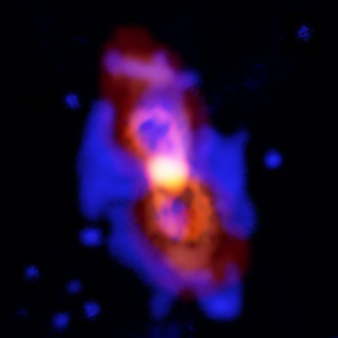 Pair of Colliding Stars Spill Radioactive Molecules into Space