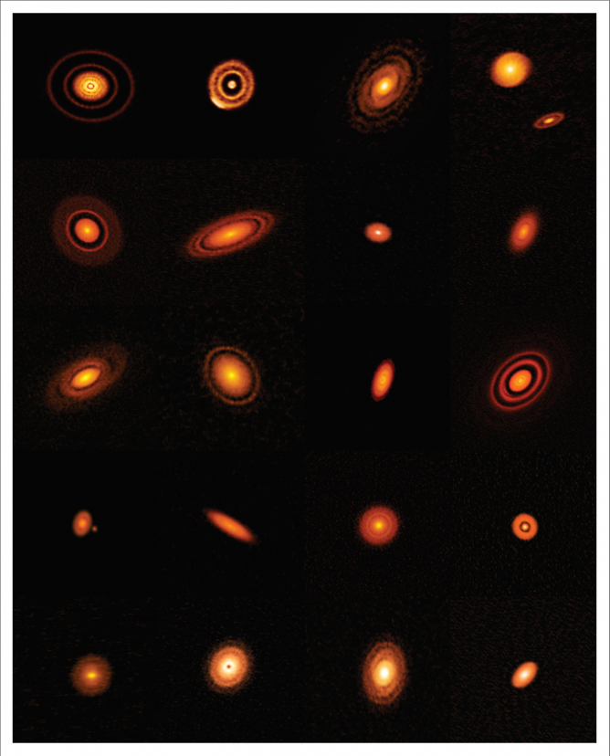 ALMA's high-resolution images of nearby protoplanetary disks, which are results of the Disk Substructures at High Angular Resolution Project (DSHARP).