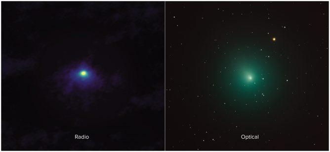 左がアルマ望遠鏡が観測したウィルタネン彗星のHCNの分布