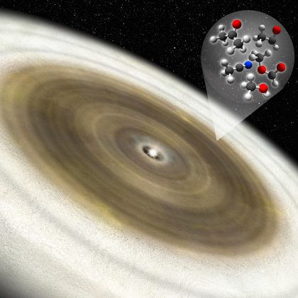 Artist's impression of the protoplanetary disk around a young star V883 Ori