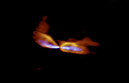 アルマ望遠鏡で観測した、原始星MMS5/OMC-3から噴き出すガス流の広がり
