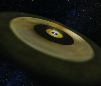 Artist's impression of the disk around a young star DM Tau.