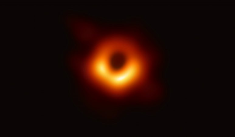 The first image of the shadow of the black hole in the center of M87 taken with EHT.