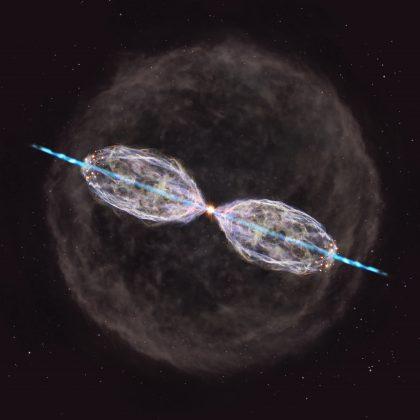 年老いた星を含む連星系W43Aの周囲の想像図