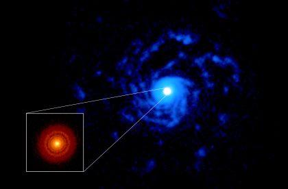 アルマ望遠鏡が観測した、若い星おおかみ座RU星の周囲の原始惑星系円盤