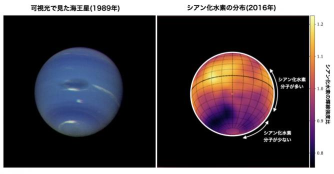 アルマ望遠鏡、海王星の赤道に横たわる「シアン化水素」の帯を世界で初めて発見