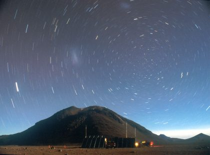 Cerro Chascon and diurnal motion of the southern sky (photographed by Kazuhisa Kamegai)
