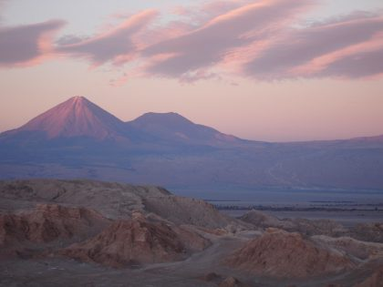 Evening view of the Licancabur Volcano viewed from Vale de la Luna (=Valley of the Moon)