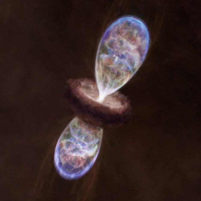 アルマ望遠鏡が発見した、赤ちゃん星を包む大きな温かい繭