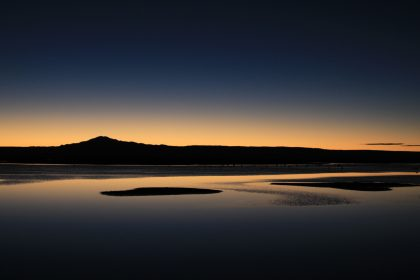 アタカマ塩湖の夕暮れ