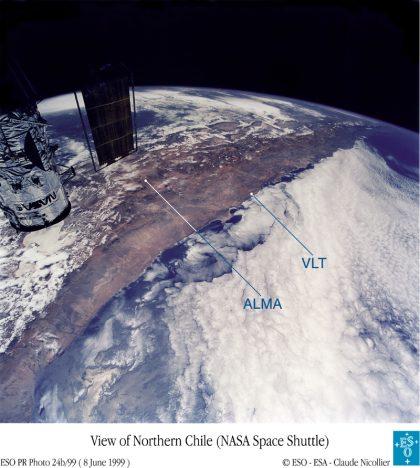 スペースシャトルから見たチリ北部