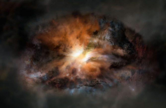 宇宙で最も明るい銀河に渦巻く激しい乱気流