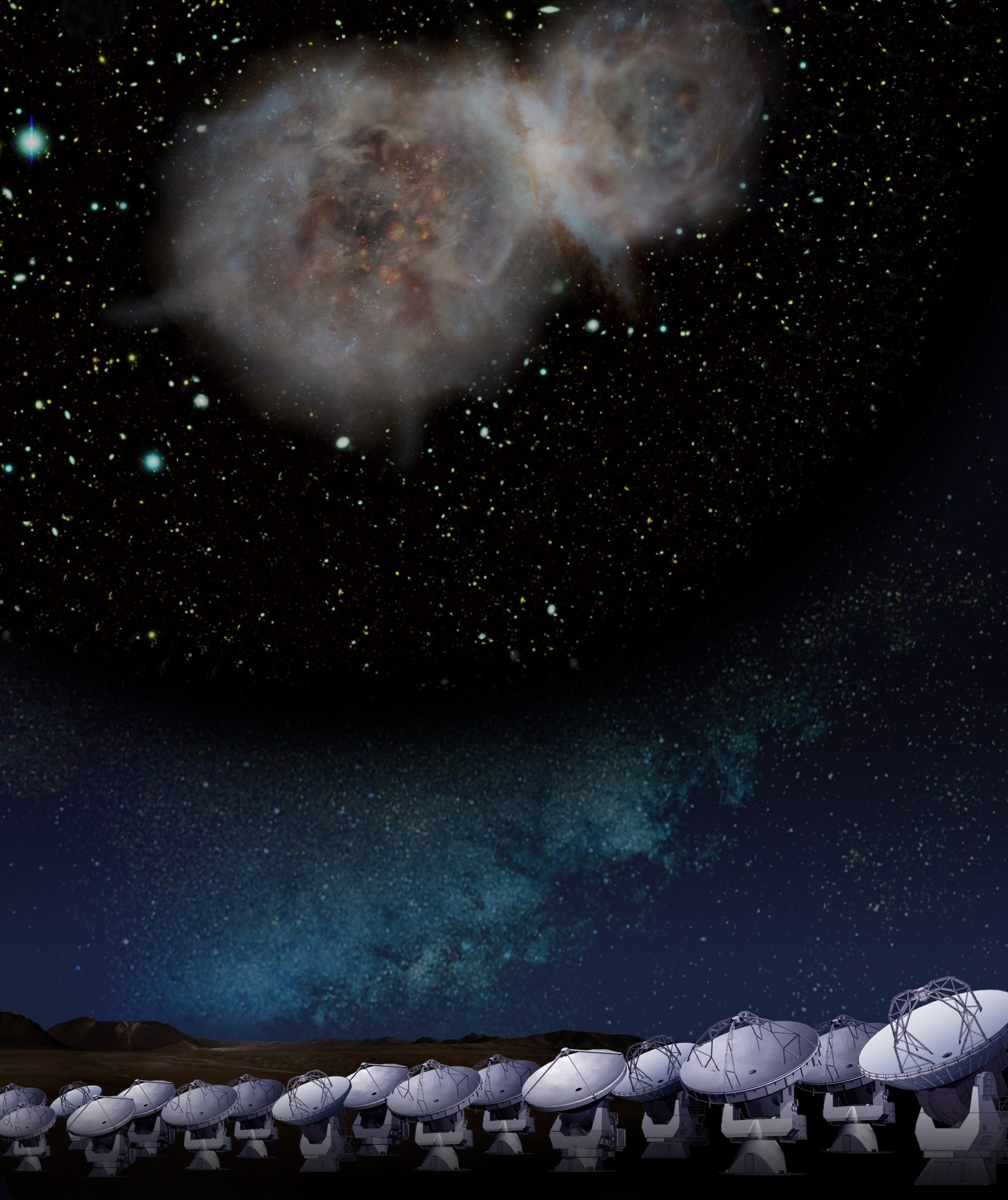 Artist impression of the submillimeter galaxy LESS J0332 observed the ALMA at the 5000-meter altitude plateau.