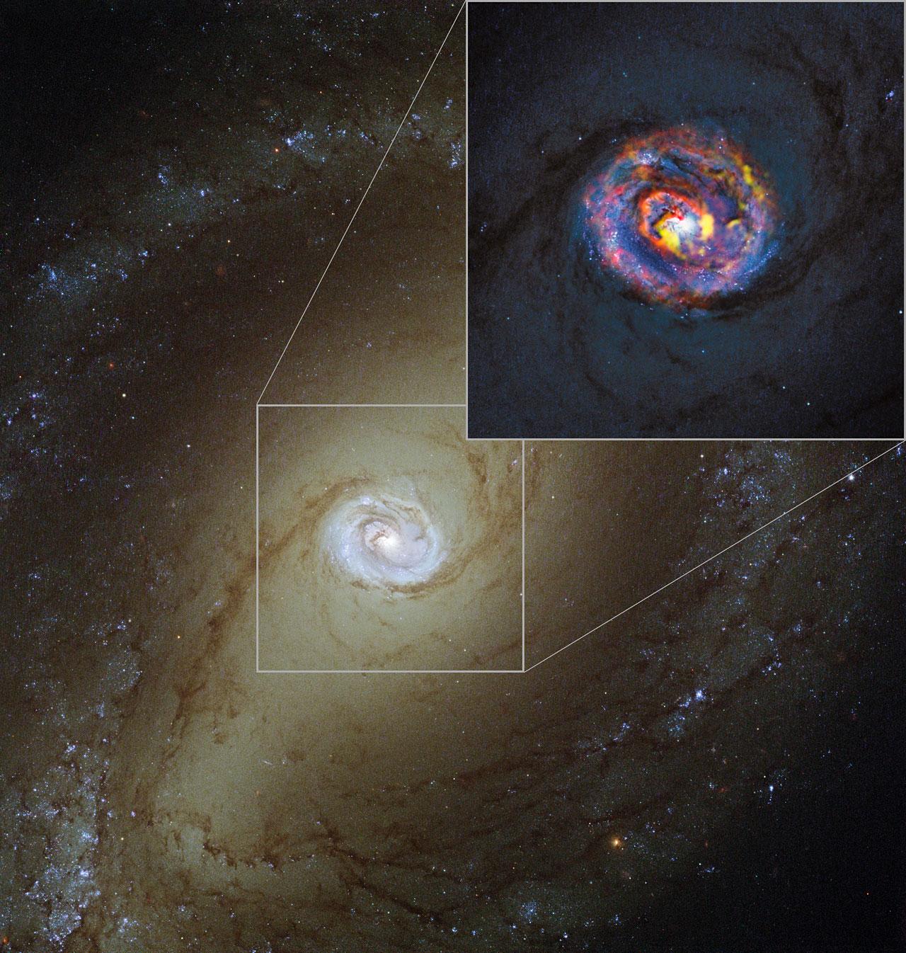 ハッブル宇宙望遠鏡で撮影されたNGC1433と、その中心部のクローズアップ