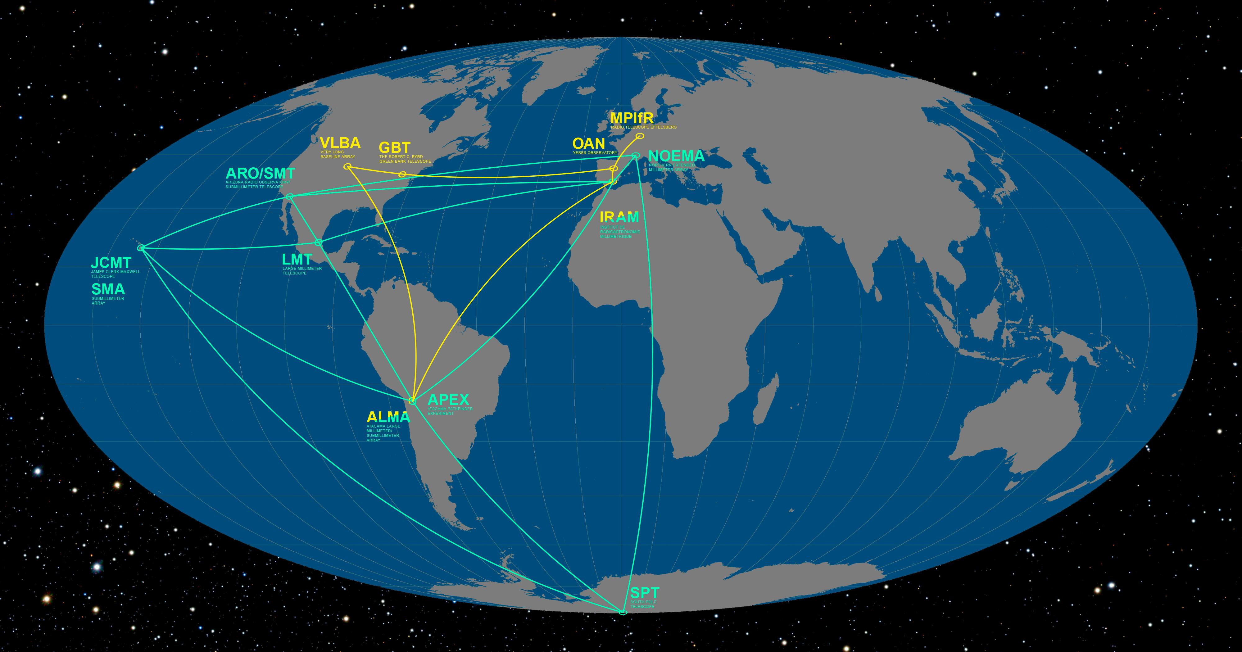 EHTとGMVAに参加する望遠鏡。これらをつなぐことで、地球の西半球全体に匹敵する大きさの電波望遠鏡を構成します。 Credit: ESO/O. Furtak