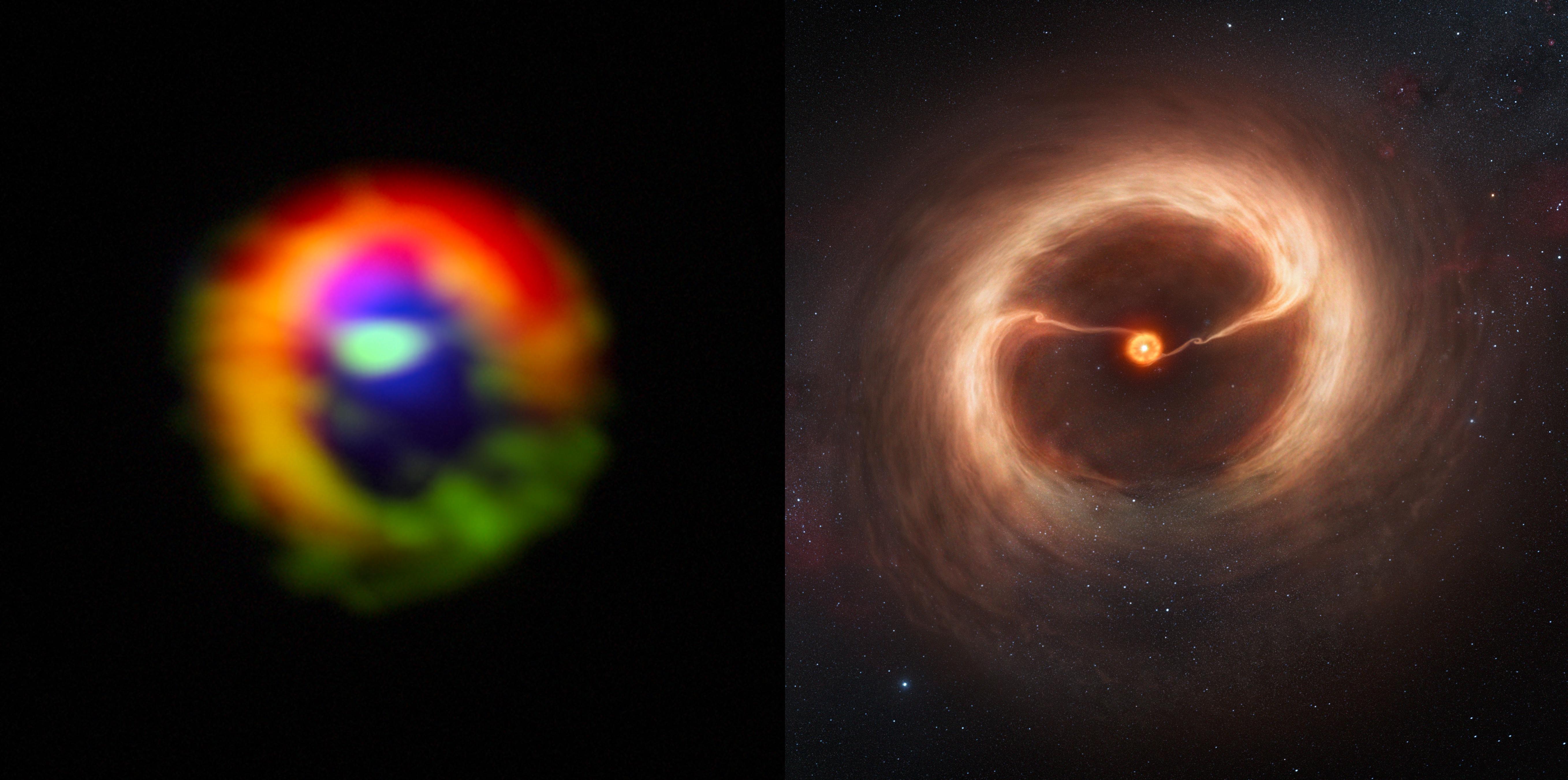 HD142527のアルマ望遠鏡観測画像とイメージ図の比較