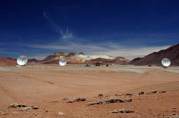 Three antennas installed at the ALMA Array Operations Site at 5000 meters